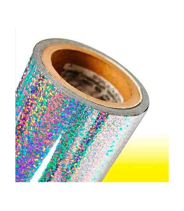 Vinilo Textil Holográfico Purpurina Plata